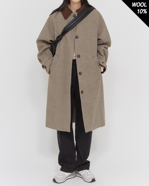 baguette collar wool coat