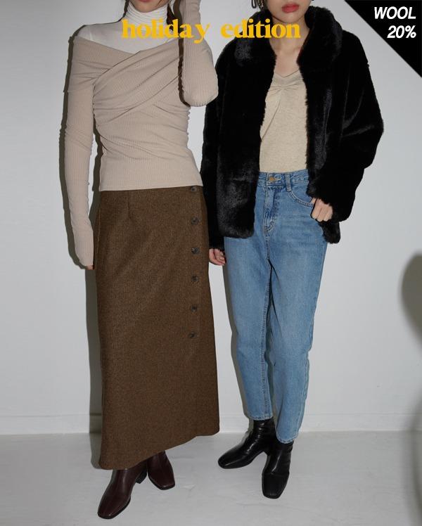 wool button point long skirt (s, m)