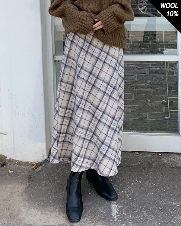 novel wool check long skirt