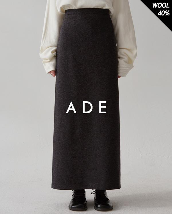 wool cash long H slit skirt (s, m)