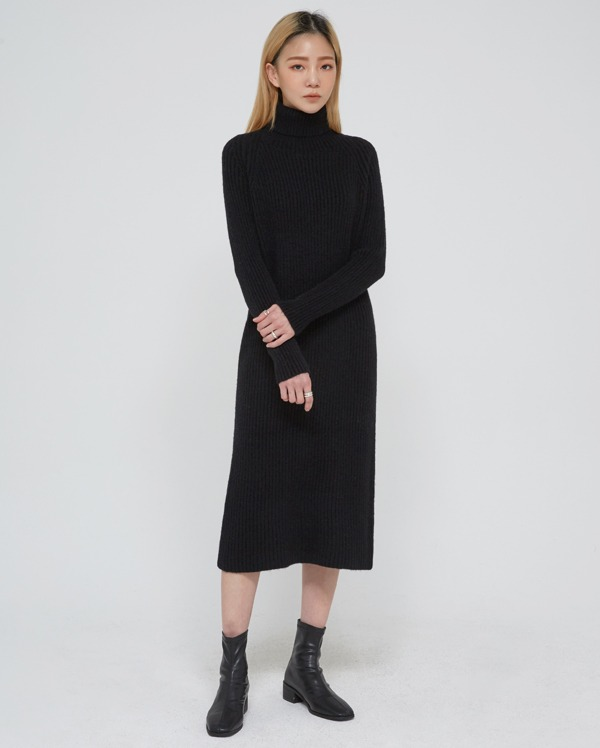 a turtleneck long knit ops