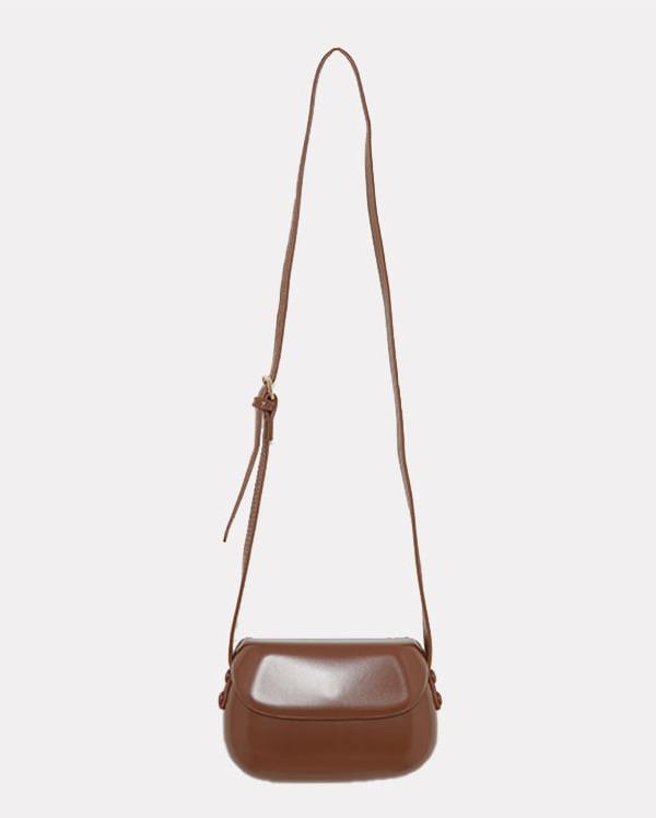 glossy round cross bag