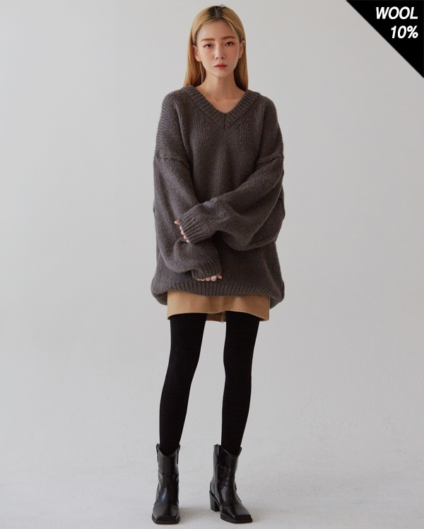 think v-neck wool knit