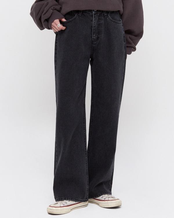 oin wide black denim pants (s, m, l)