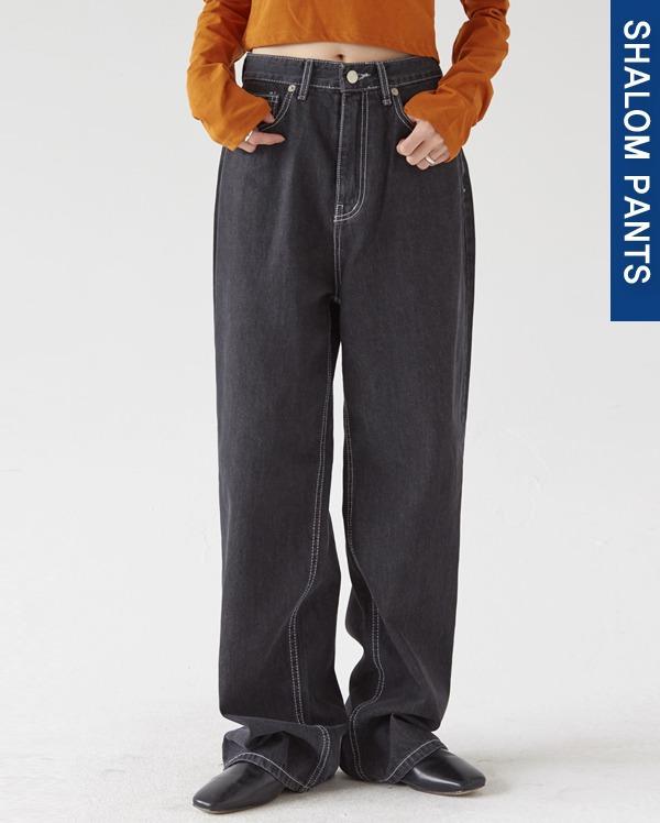 202_high waist black wide pants (s, m, l)