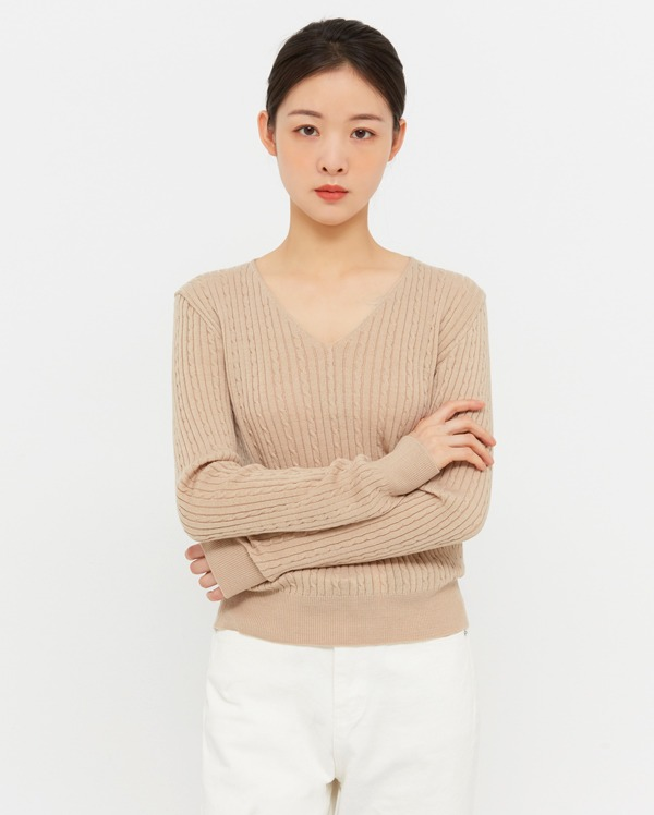 vise cable v-neck knit