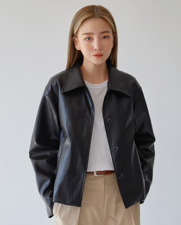 on the leather jacket