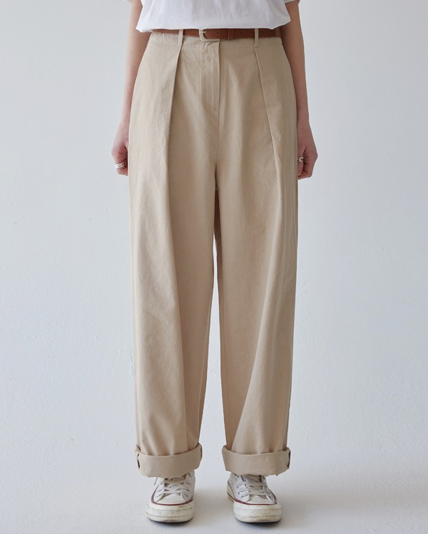 salt cotton pintuck pants (s, m)