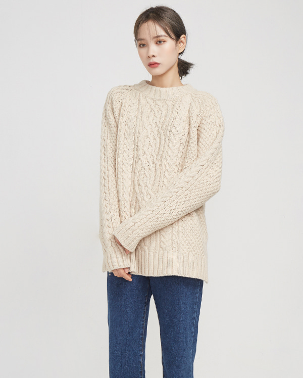 warm touch twist slit knit