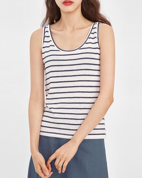 right stripe linen sleeveless
