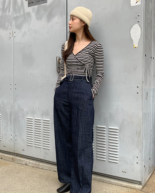 grove long denim pants