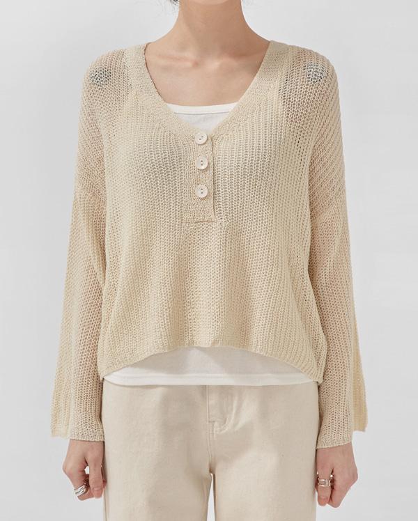 crop button v-neck knit