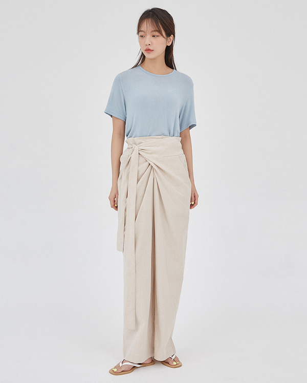 mannish linen wrap slacks