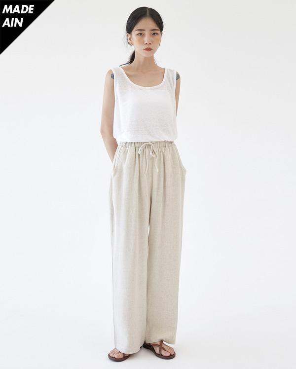 cozy linen banding pants