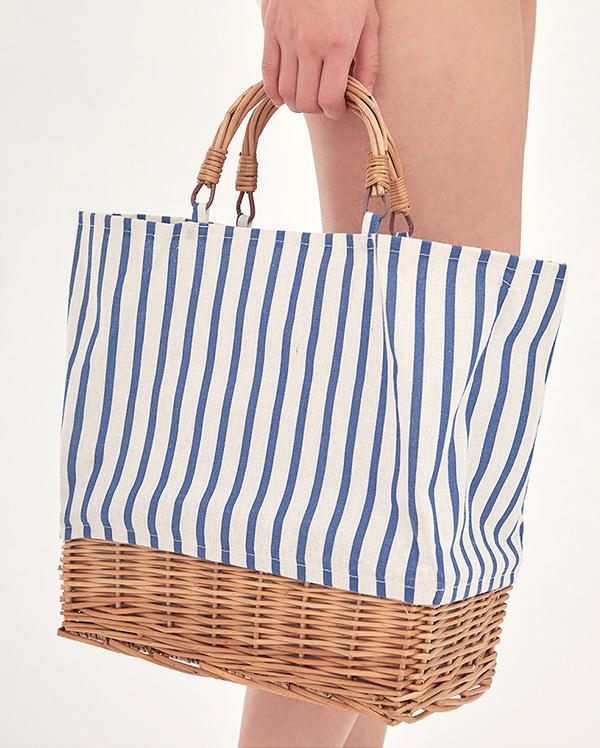 summer stripe bucket bag