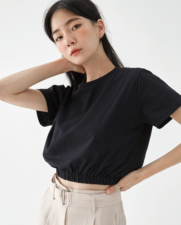 pleate push crop T