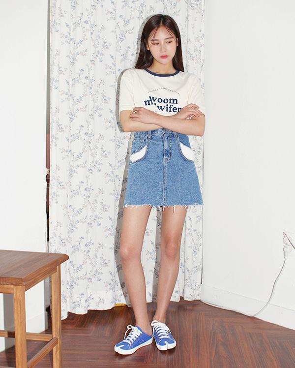 denim cutting cotton skirts (s, m)