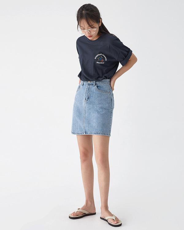 dart denim mini skirt (s, m)
