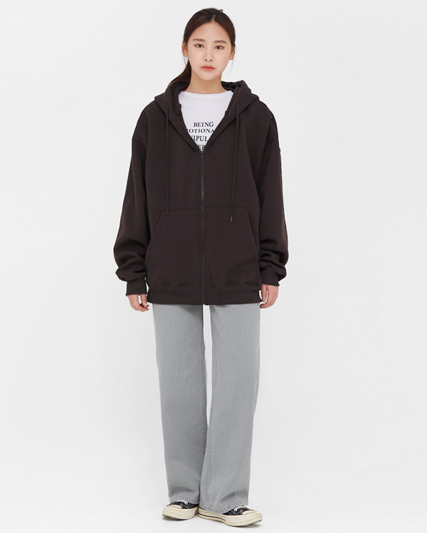 molten overfit hood zip-up