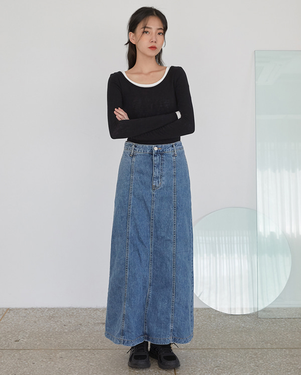 line denim long skirts (s, m)