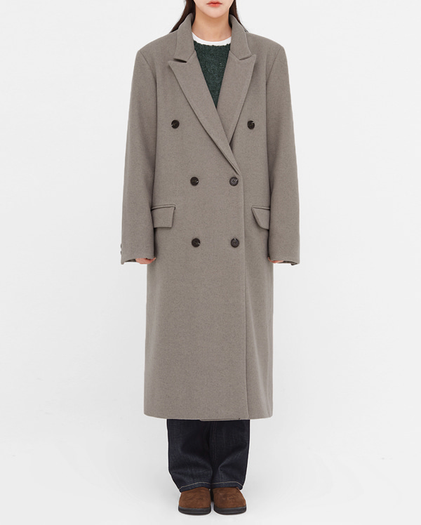 elegant wool double long coat
