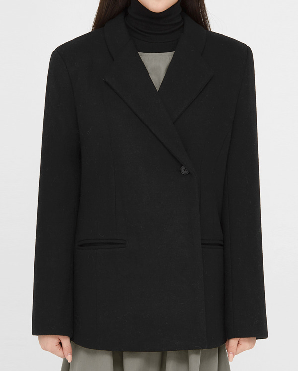 key one button wool jacket