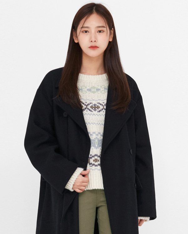 cend double wool long coat