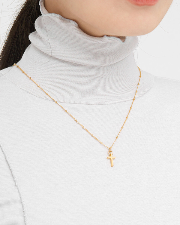dotted simple cross necklace