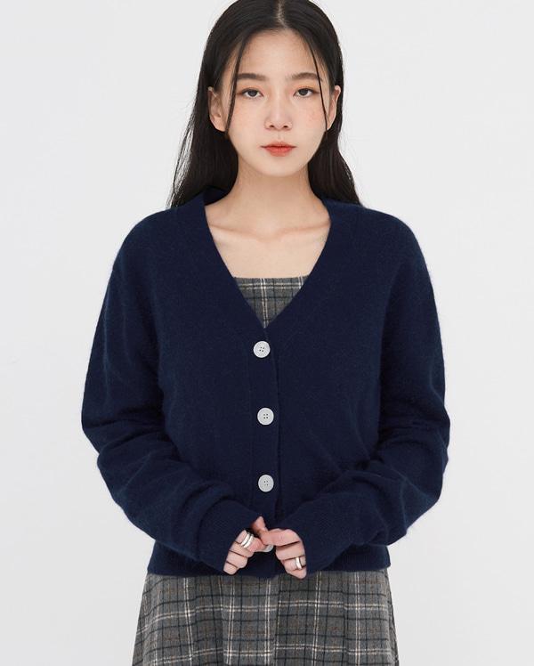minimal wool angora cardigan