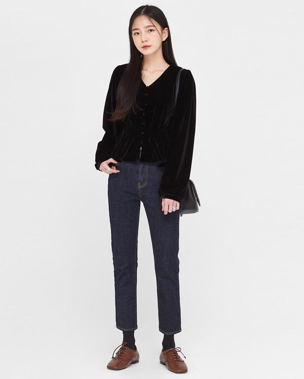 in lovely velvet shirring blouse