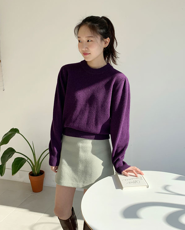 a girlish puff wool knit