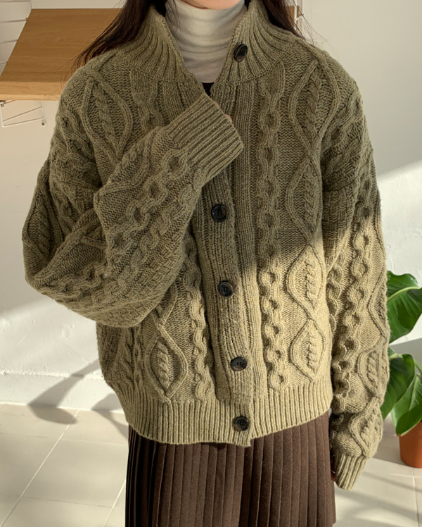 high neck cable wool cardigan