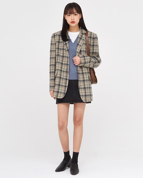look boxy check jacket