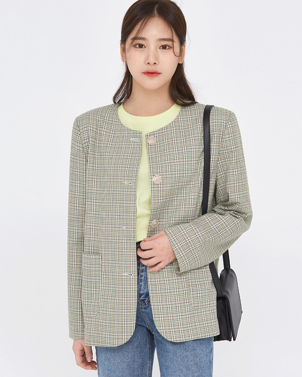 say round check point jacket