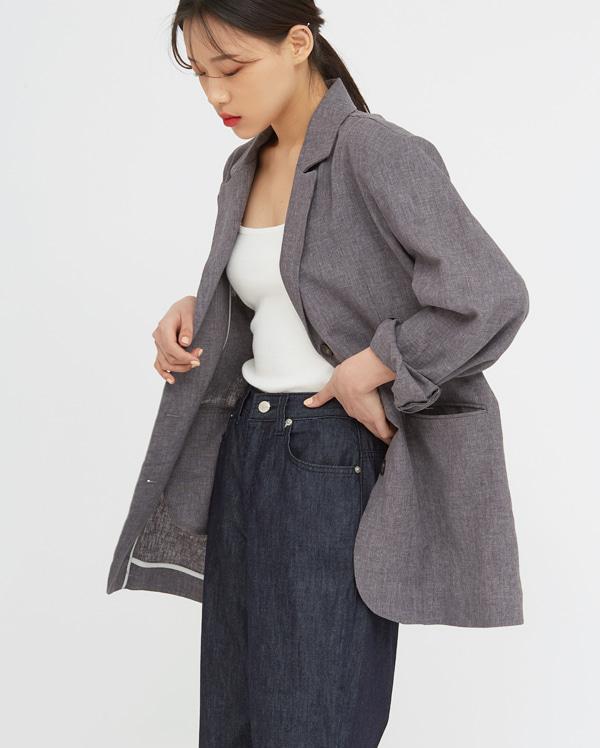 mood mannish linen jacket