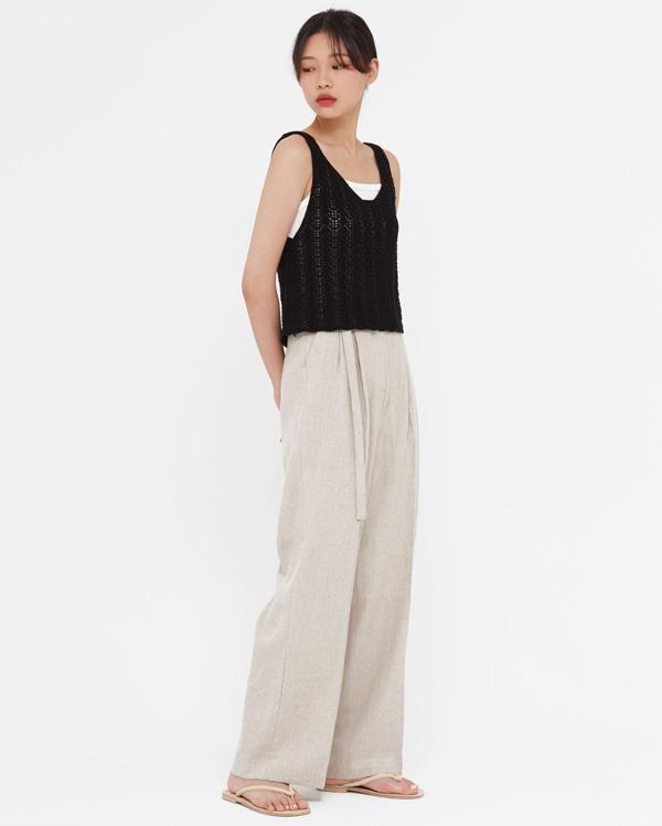 hake linen belt slacks (s, m)