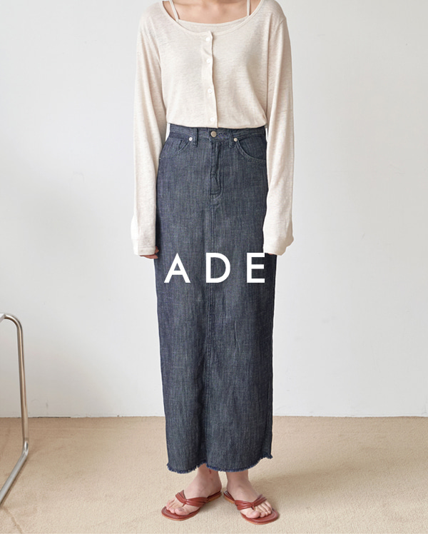 linen denim long skirt (s, m, l)