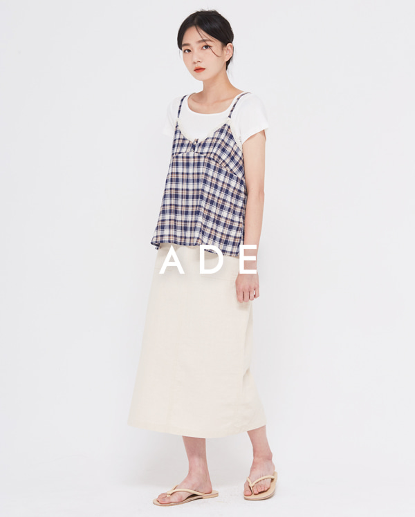 linen pocket H-line skirt