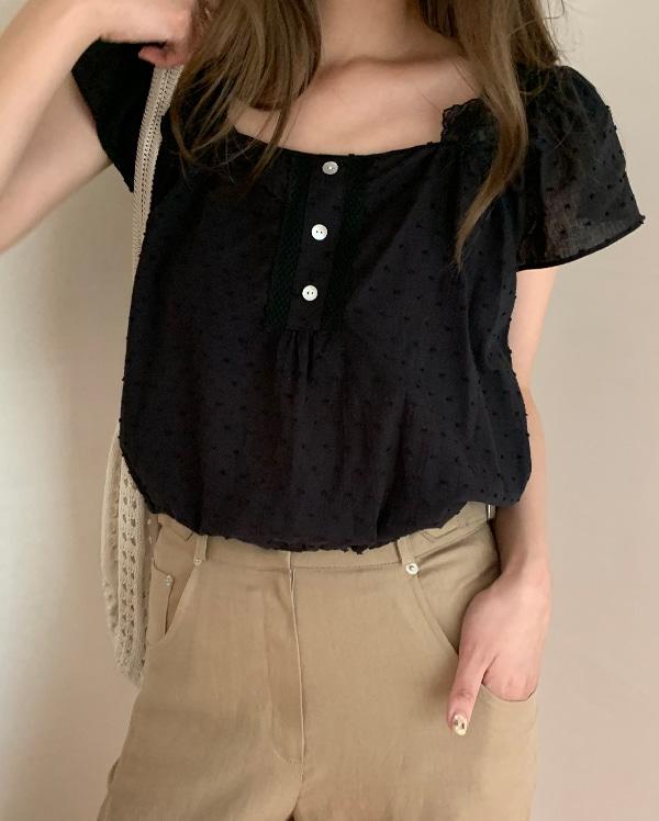 lace button blouse