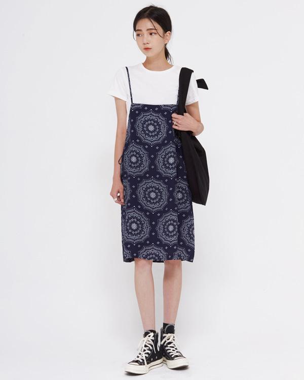 pattern sleeveless mini ops