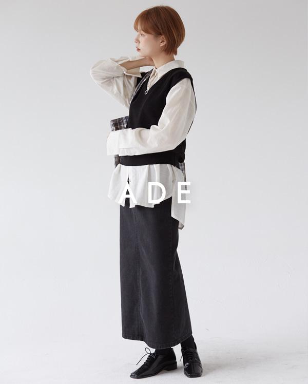 back slit denim long skirt (s, m, l)