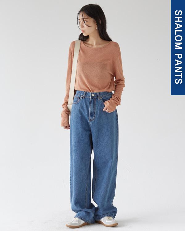 202_high waist deepblue wide pants (s, m, l)