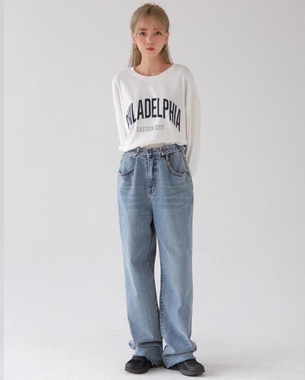 side button long wide denim pants (s,m)