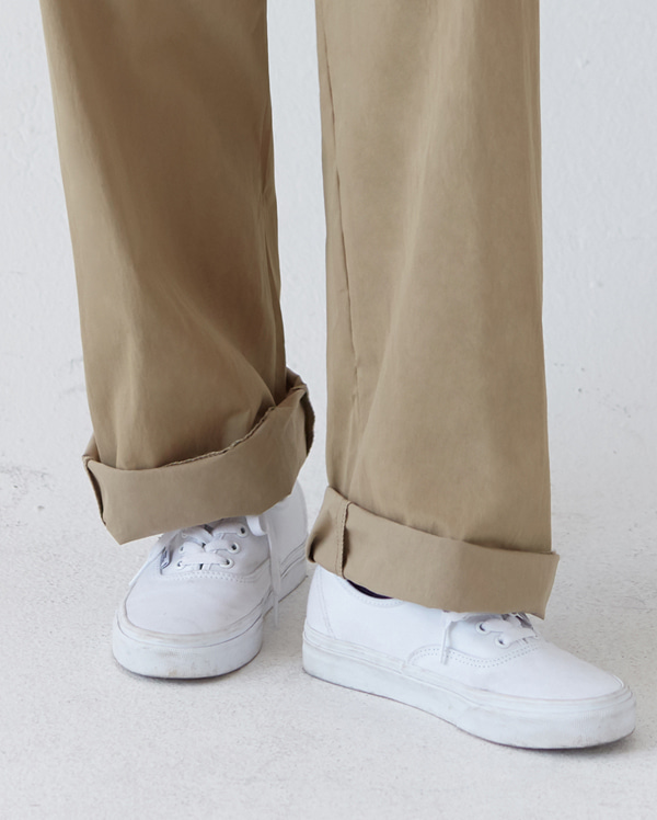 cotton wide belt pants