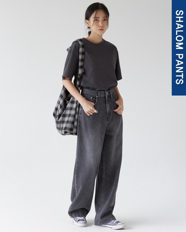 205_smog black wide denim pants (s, m, l)