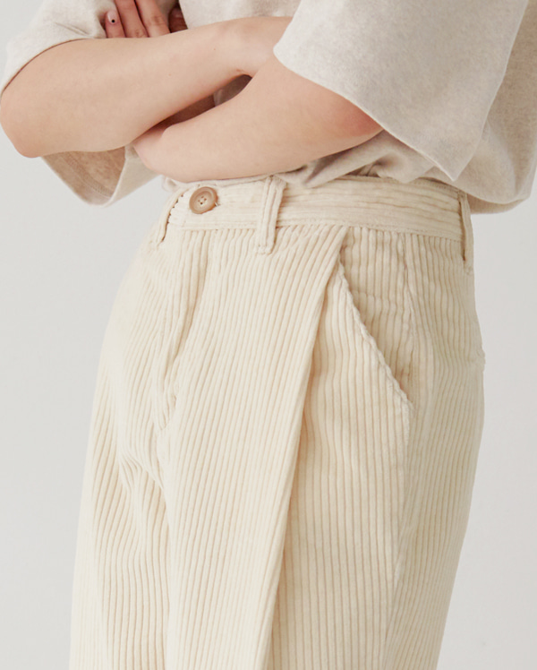 simple corduroy wide pants (s, m)