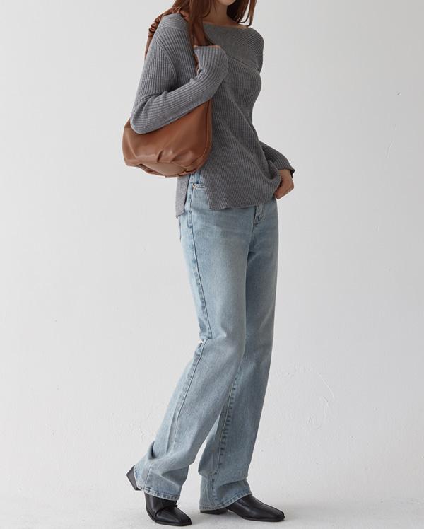 clean straight long denim pants (s, m, l)