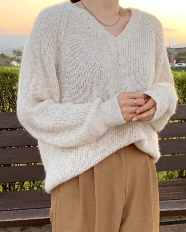 colorful v-neck knit