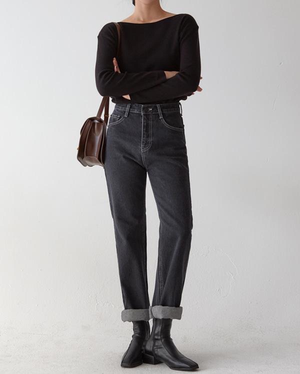 stitch black denim pants (s, m, l)