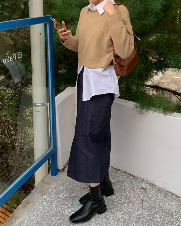 pocket cotton banding skirt